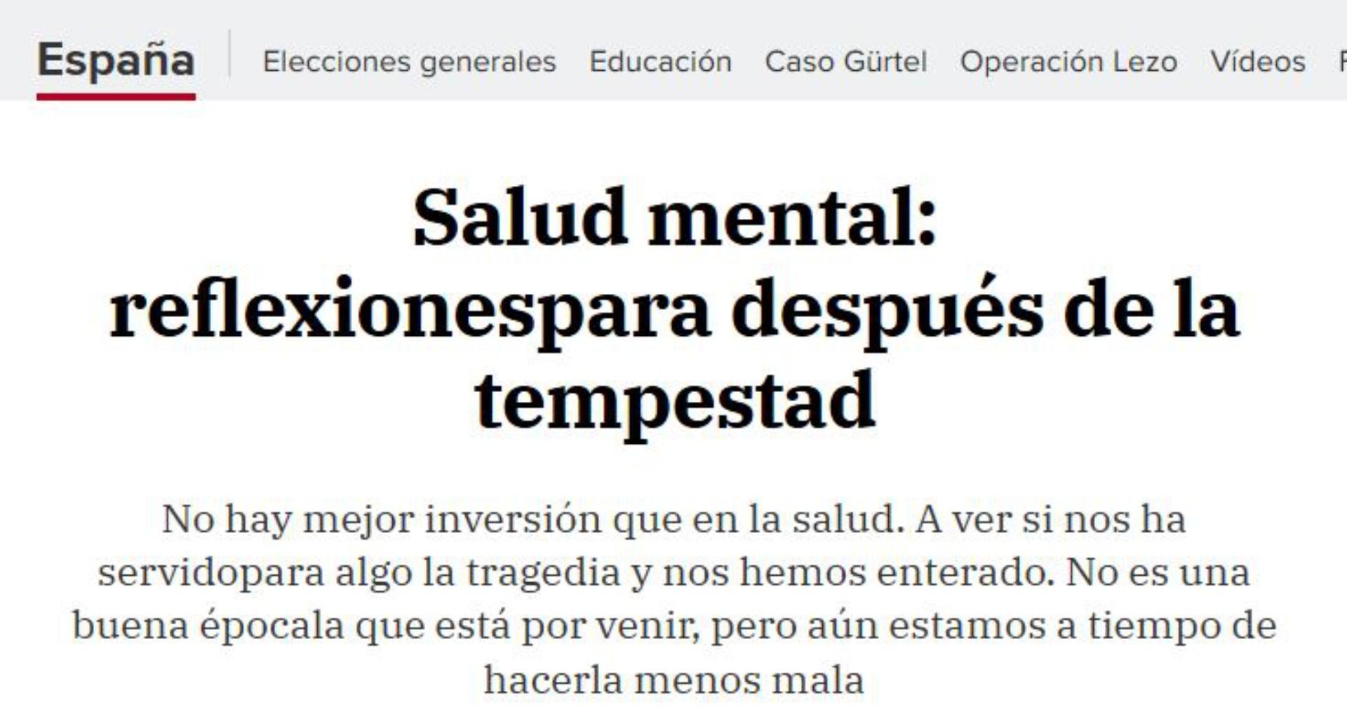 """Artículo en el Diario HOY """"Salud mental: reflexionespara después de la tempestad"""""""