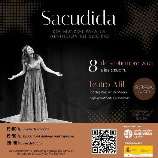 """Representación de la obra de teatro """"Sacudida"""", para concienciar sobre el suicidio. 8 de septiembre"""